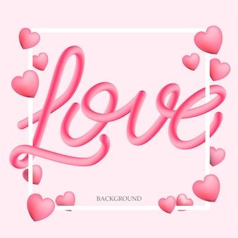 Amore 3d che segna fondo con lettere, illustrazione di vettore.