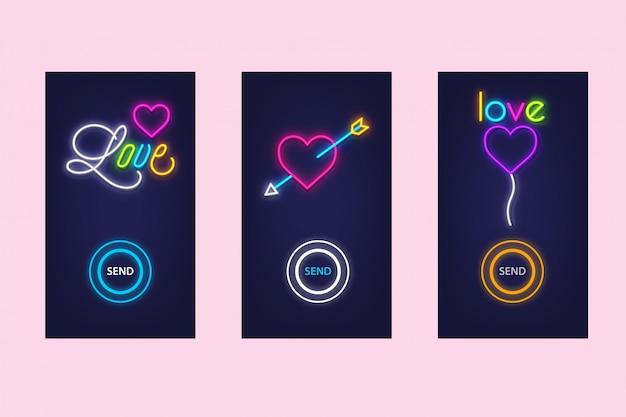 Amore app mobile impostato con neon bagliore. amore virtuale. progettazione dell'interfaccia utente.