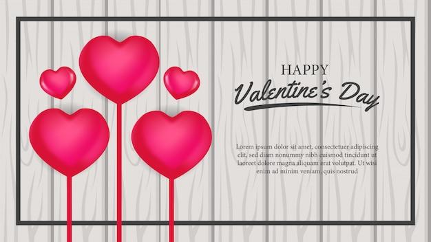 Amore banner di san valentino sul legno