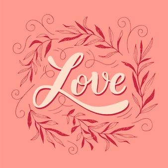 Amore calligrafico lettering concetto