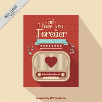 Amore carta vintage con la radio