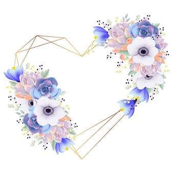 Amore cornice sfondo anemone fiore e succulente