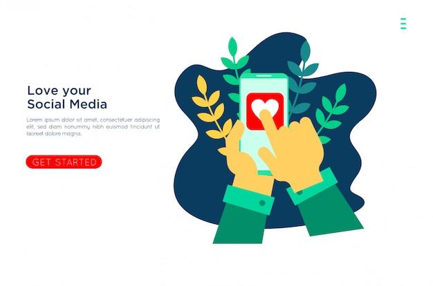 Amore dei social media con illustrazione piatta