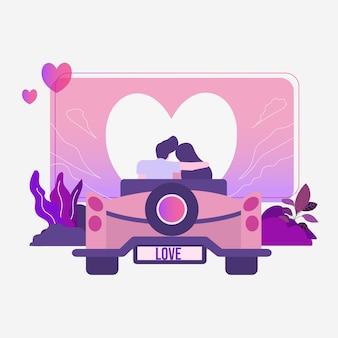 Amore delle coppie che si incontra in automobile