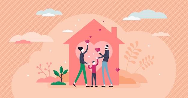 Amore domestico concetto piatto minuscolo delle persone della casa.