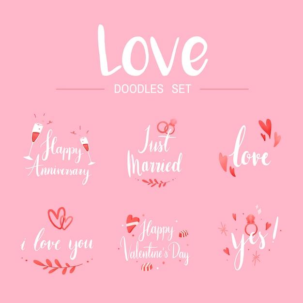 Amore doodle imposta tipografia vettori