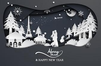 Amore e Babbo Natale delle coppie di stile della carta tagliata, natale, buon anno.