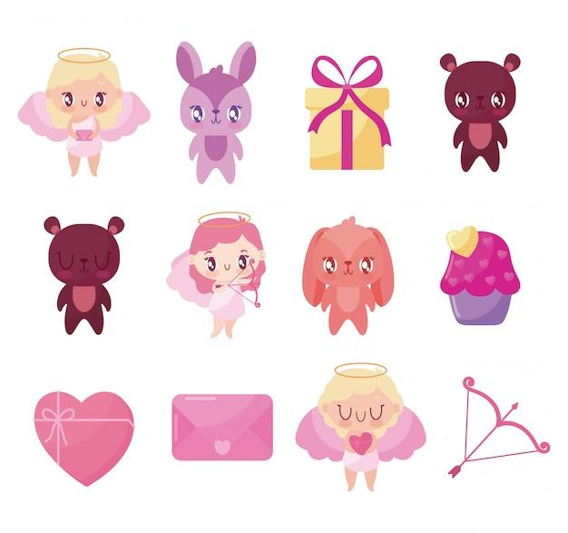 Amore e felice san valentino set di icone
