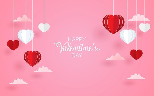 Amore e sfondo romantico a forma di cuore. arte di carta