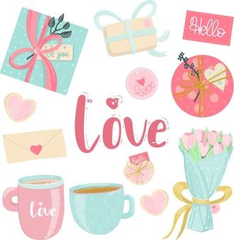 Amore elementi in colori pastello.