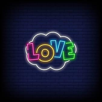 Amore insegne al neon in stile testo