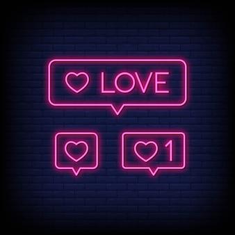 Amore insegne al neon simboli di stile del testo