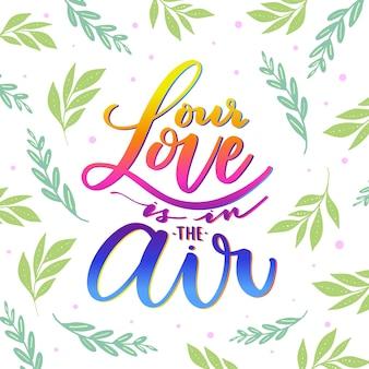 Amore lettering con foglie design