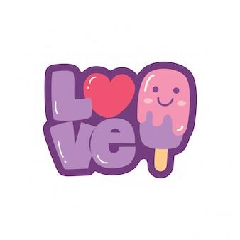 Amore lettering e simpatico gelato kawaii