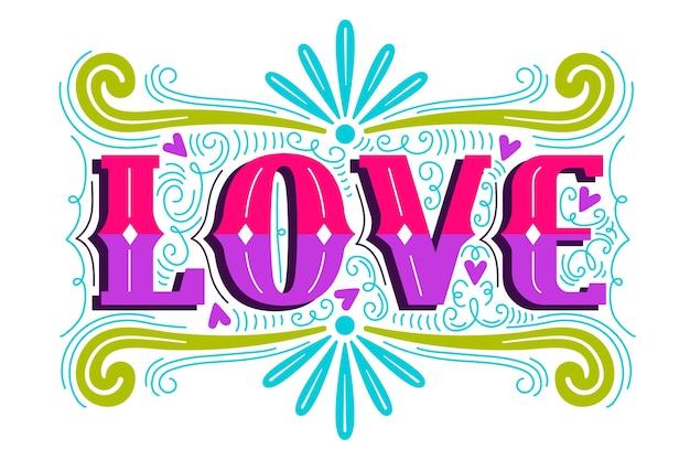 Amore lettering in design vintage