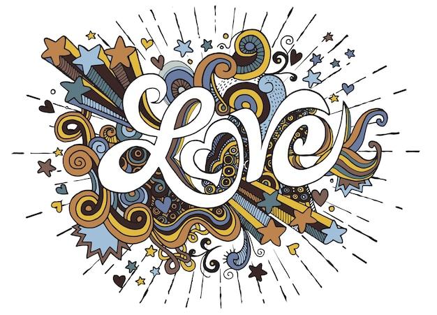 Amore mano scritte e scarabocchi elementi schizzo sfondo