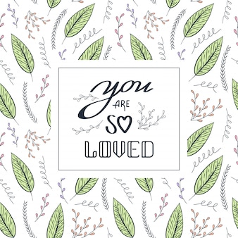 Amore quote seamless pattern contorno floreale