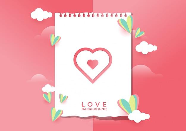 Amore sfondo con disegno di carta