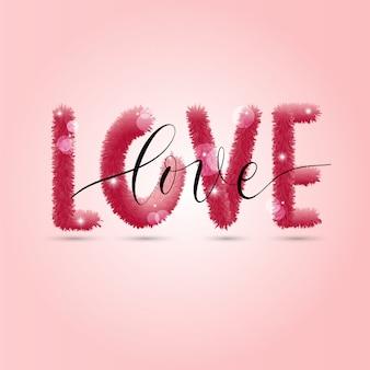 Amore sullo sfondo illustrazione della carta vacanze su sfondo rosa.
