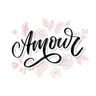 Amour lettering scritto a mano