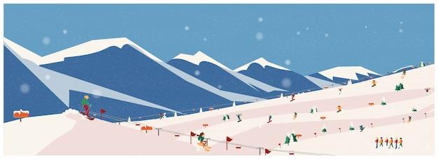 Ampia panoramica di avventure invernali, alpi, abeti, impianti di risalita, montagne avventura alpinistica. concetto di attività invernali, illustrazione vettoriale.