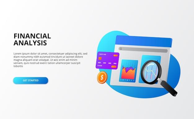 Analisi aziendale di economia finanziaria con grafico e lente di ingrandimento 3d per il concetto di controllo per il modello di pagina di destinazione
