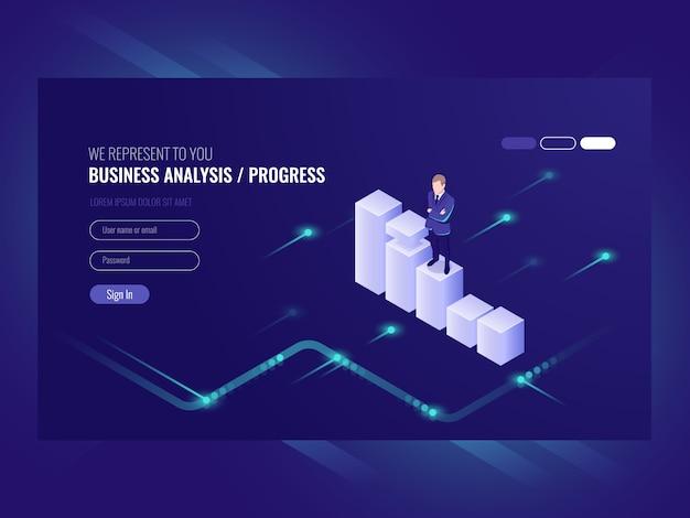 Analisi aziendale e progresso concpet, uomo d'affari, programma di dati