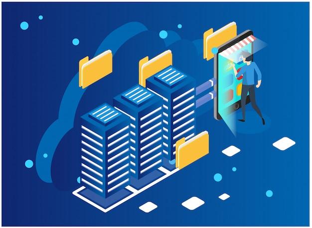 Analisi dei dati e concetto di statistiche. analitica di affari dell'illustrazione di vettore, visualizzazione di dati. tecnologia, internet e concetto di rete. dati e investimenti
