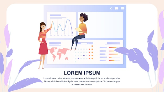 Analisi dei dati globali grath businesswoman character