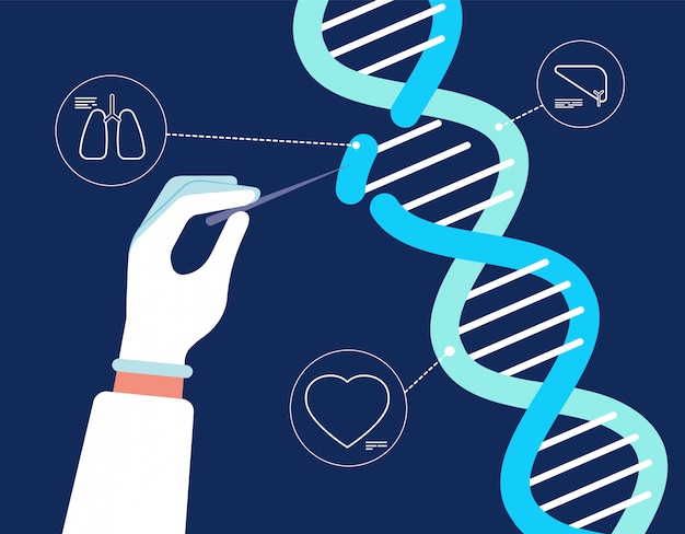 Analisi del dna. genoma crispr cas9 farmacologia biochimica ingegneria medica ricerca delle mutazioni del gene umano sfondo di chrommosomes