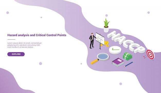 Analisi del rischio di haccp e concetto di business dei punti critici di controllo per modello di sito web o homepage di atterraggio