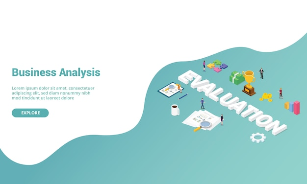 Analisi delle prestazioni di valutazione aziendale isometrica per il modello di sito web o banner della homepage di destinazione