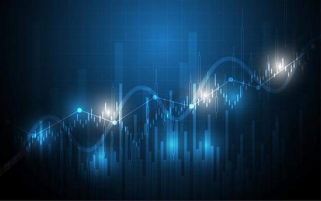 Analisi di dati finanziari del grafico del bastone della candela del grafico finanziario di commercio di investimento del mercato azionario