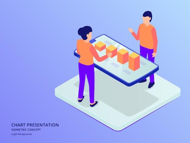 Analisi di grafici e presentazioni di dati con realtà aumentata su smartphone con stile piatto isometrico