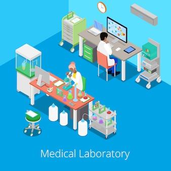 Analisi di laboratorio isometrica con personale medico e ricerca chimica. illustrazione