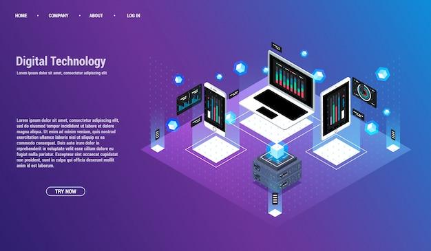 Analisi e investimenti. concetto di visualizzazione dei dati. 3d isometrico