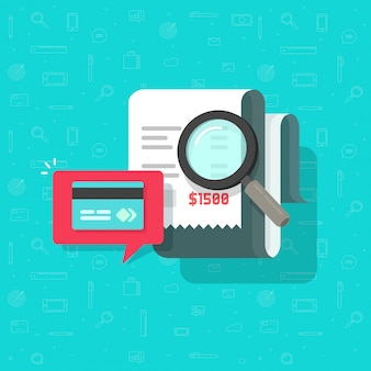 Analisi piana di verifica di pagamento online o fumetto piano dell'illustrazione di ricerca di pagamento della fattura