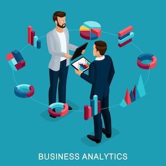 Analista commerciale isometrico, uomo d'affari maschio, pianificazione di concetto.