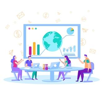 Analisti dei finanzieri nell'illustrazione piana della sala per conferenze