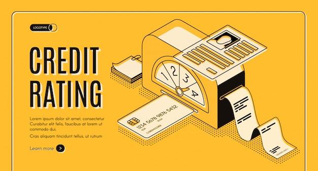 Analitica di valutazione di credito, segnante la bandiera di web di vettore isometrico di servizio online.