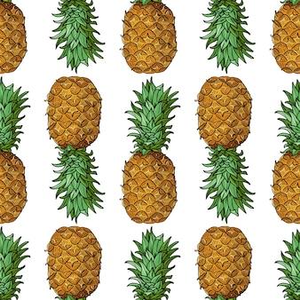 Ananas con foglie modello senza cuciture con frutti tropicali su sfondo bianco illustrazione di estate luminosa arte botanica per stampe, copertine di libri, tessuto, tessuto, carta regalo da imballaggio.