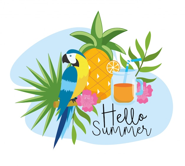 Ananas con pappagallo e succo d'arancia tropicale