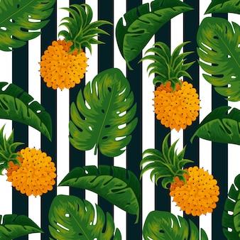 Ananas e fondo tropicali delle foglie della natura