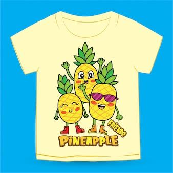 Ananas sveglio del fumetto disegnato a mano per la maglietta