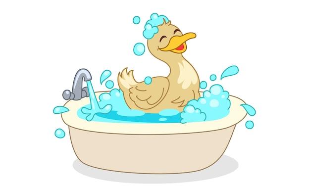 Anatra che fa l'illustrazione di vettore del fumetto del bagno