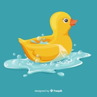 Anatra di gomma gialla piana illustrata in acqua