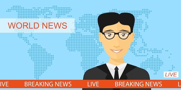 Anchorman in tv, annunciatore di notizie in studio, ultime notizie e concetto di televisione con sfondo di mappa del globo, illustrazione di stile