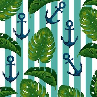 Ancoraggio con foglie esotiche e linee di fondo