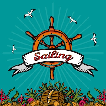 Andare in barca. immagine vettoriale disegnato a mano su uno sfondo blu