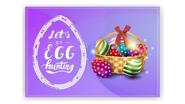 Andiamo a caccia alle uova, modello di cartolina viola